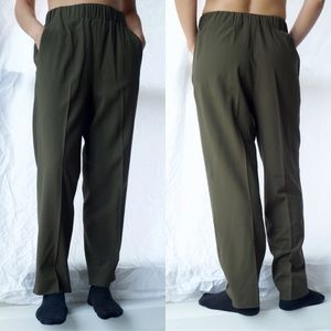 COS Green Crepe High Waist Wool Dress Pants EUR 34